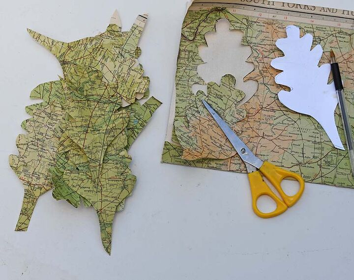 upcycled road map fall wreath