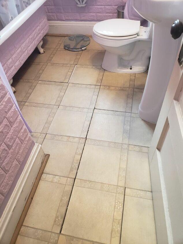 q how do i diy my cheap tiled bathroom floor