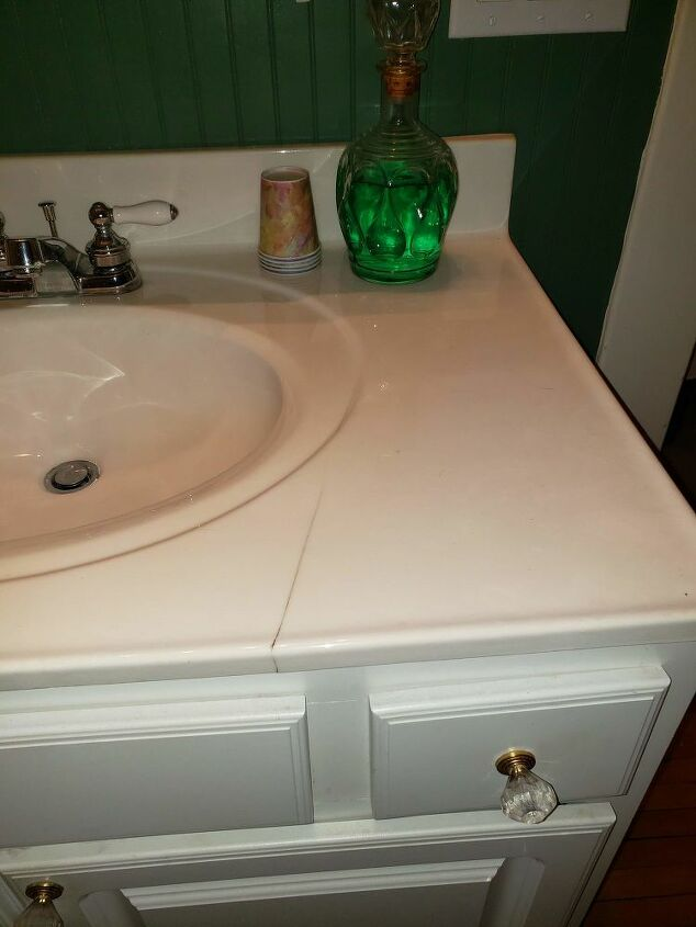 q how can i fix this crack in my faux marble vanity