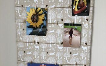 DIY Photo Display Board From Cardboard & Fabric