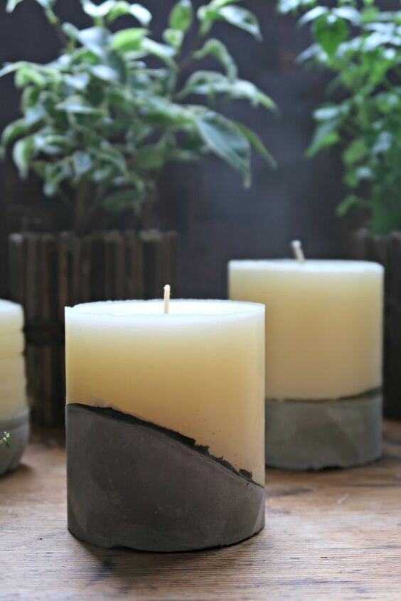 how to make concrete candles using homemade moulds