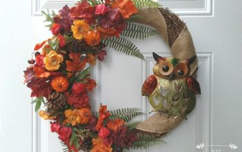 Owl Garden Stake Becomes a Fall Wreath Accent