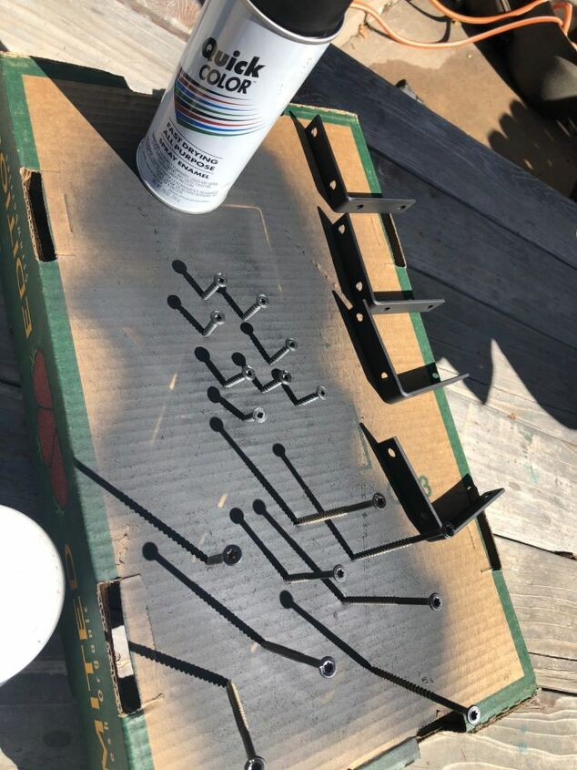 Painted l beakers and screws