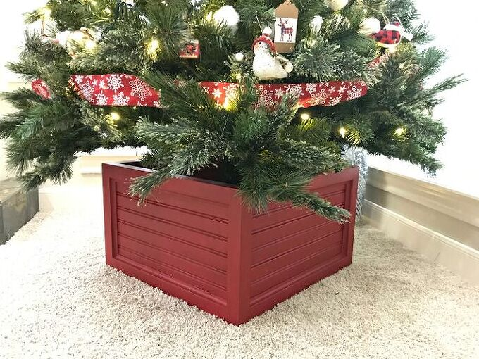 diy christmas tree stand and ornament storage