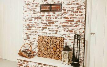 DIY Limewash Smear Fireplace