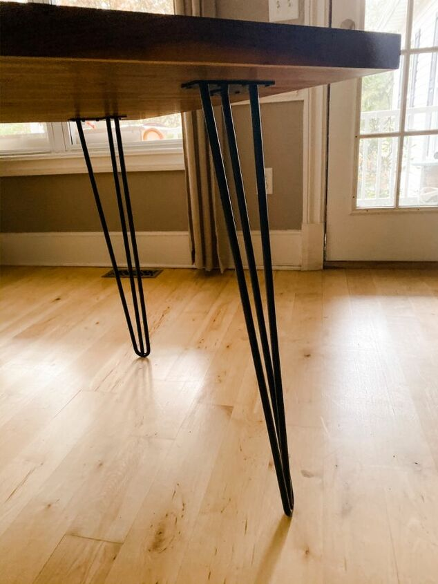 30 minutes to make this diy butcher block table with hairpin legs