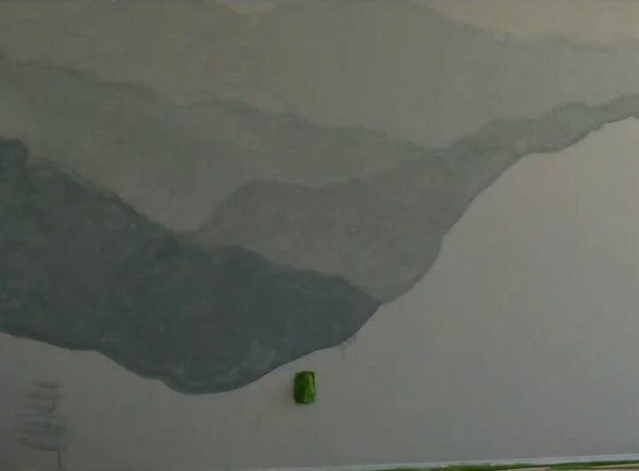 diy watercolor mountain wall
