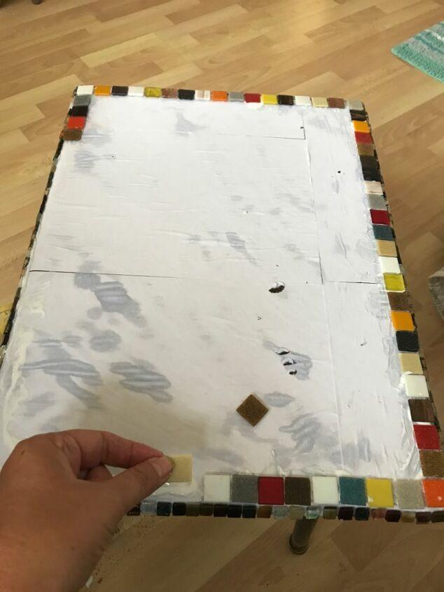 Edge of glass mosaic tiles