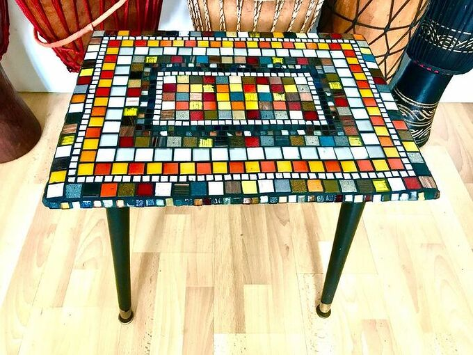 how to transform an old coffee table with mosaic, Mid century coffee table upcycled with mosaic