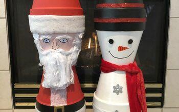 Flower Pot Santa & Snowman