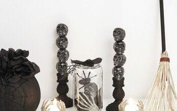 DIY Skull Candlestick Halloween Decoration