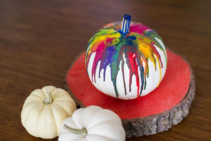 s 30 pumpkin projects for people that are totally obsessed with pumpkins, DIY Crayon drip pumpkins