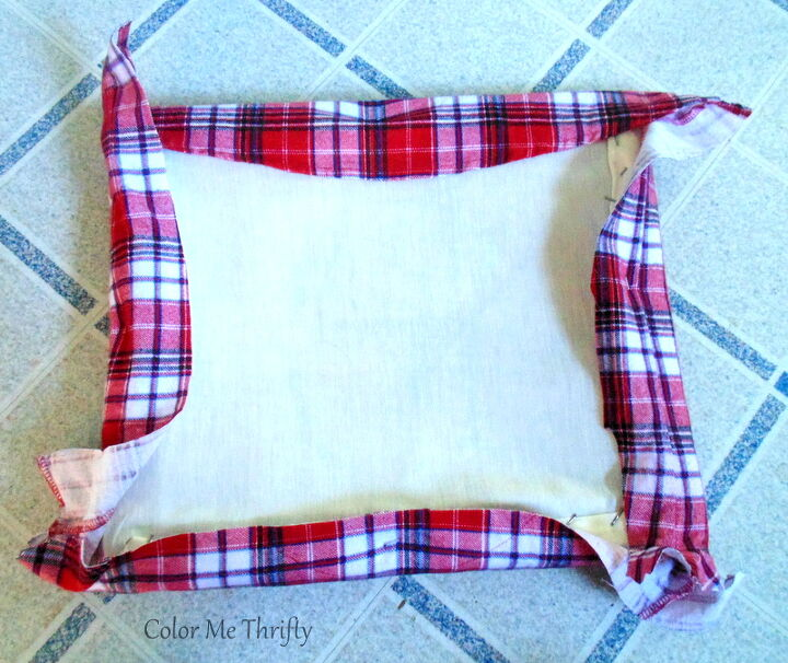 repurposed plaid shirt bench makeover