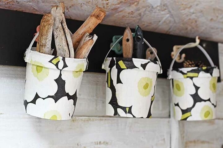 funky upcycled hanging storage buckets