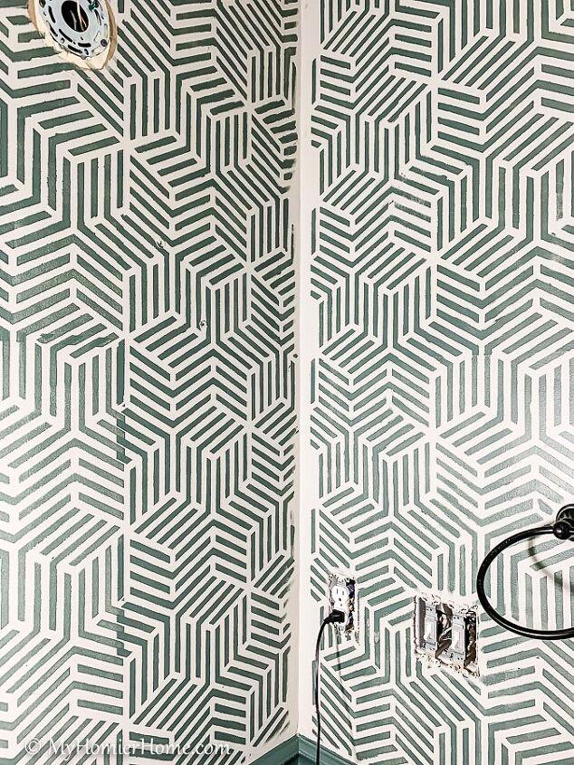 tips for using a bathroom wall stencil dramatic bathroom upgrade