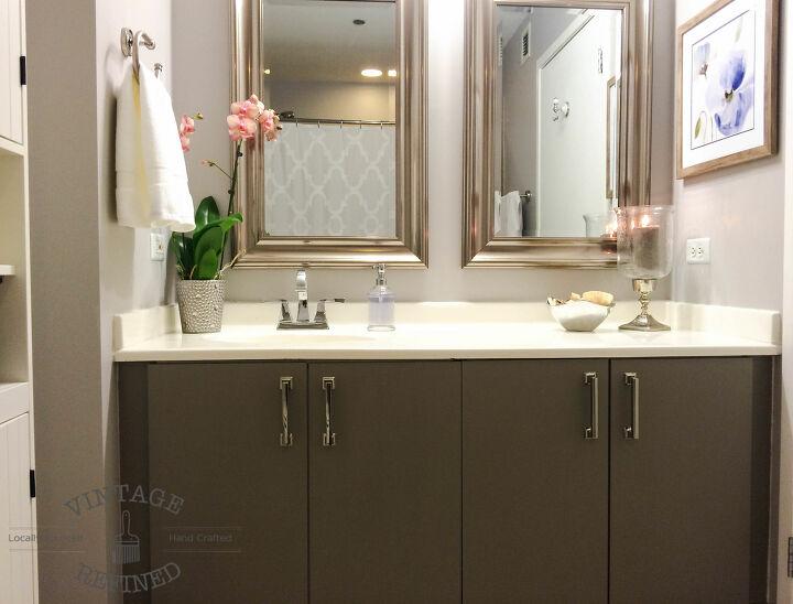 DIY grey bathroom cabinets
