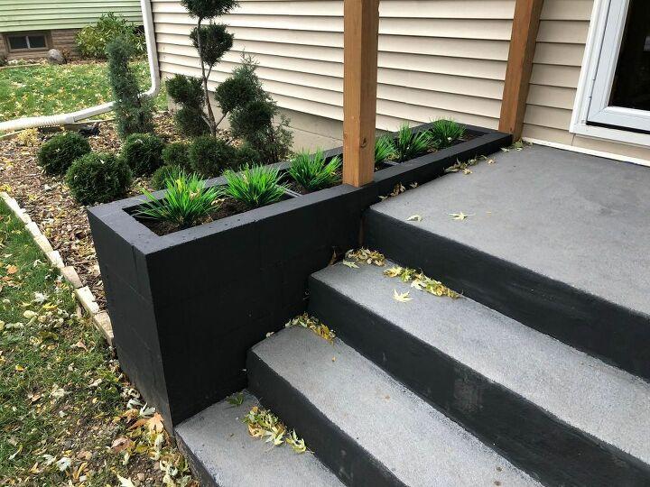 cinder block entryway planter