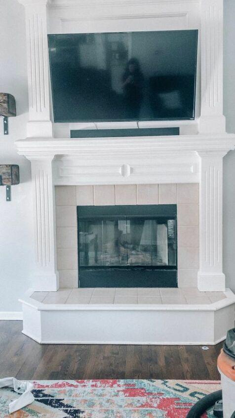 brick veneer farmhouse fireplace