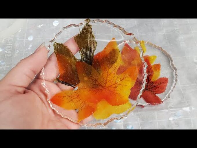 autumn maple leaf resin coasters