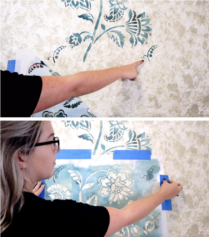 vintage farmhouse wallpaper made with wall stencils