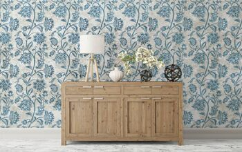 Vintage-Looking Farmhouse Wallpaper Made With Wall Stencils