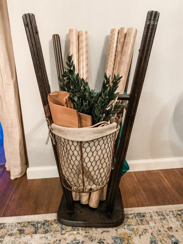 stool wrapping paper storage solution