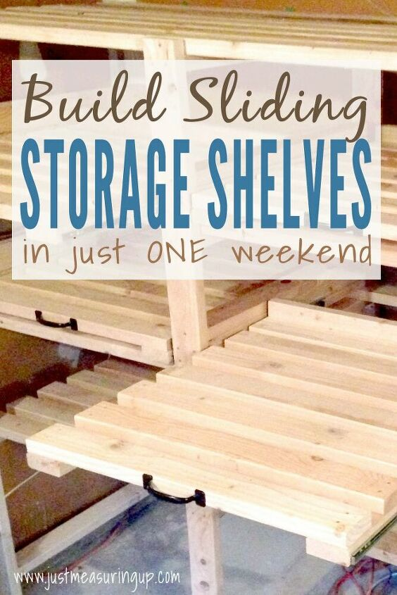 basement organization sliding shelves