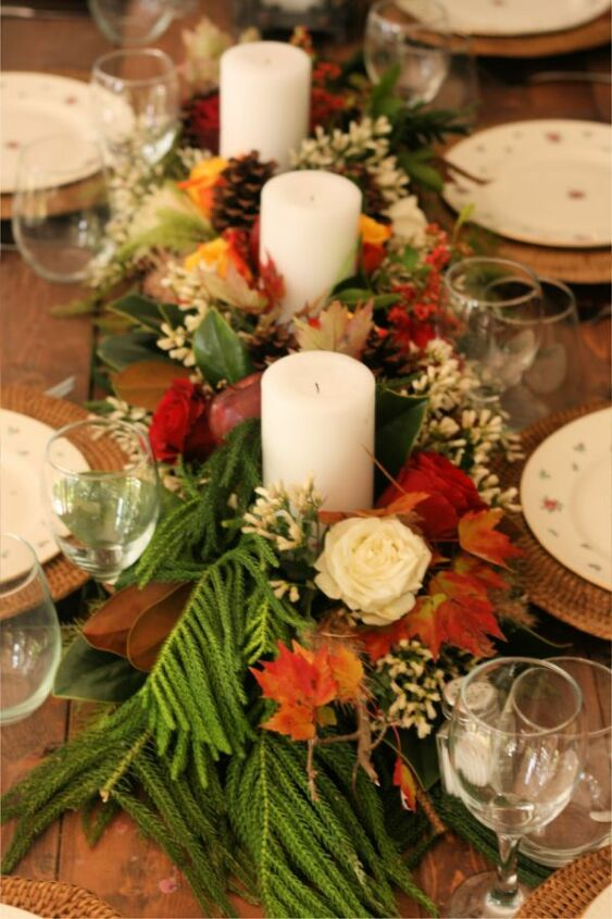super long thanksgiving centerpiece on the cheap