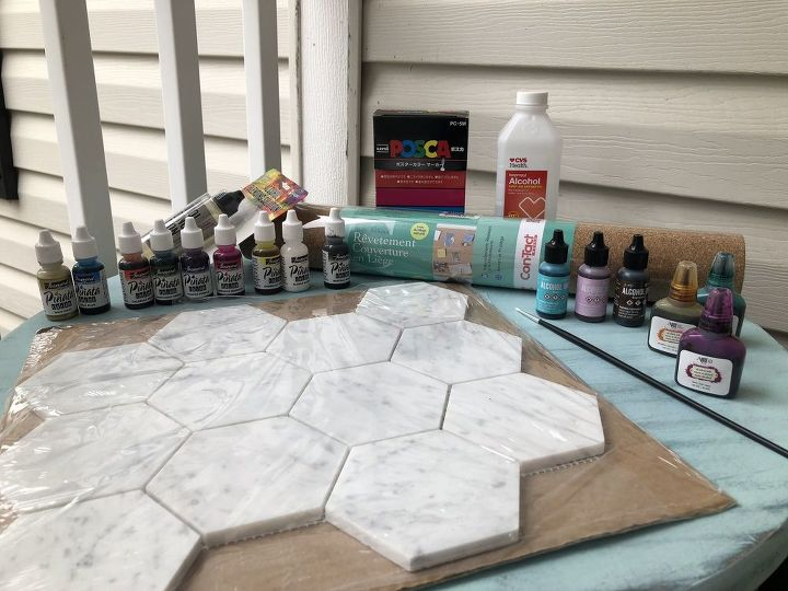alcohol inks and marble hexagon coasters