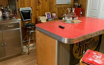 Bar Top Replacement With a 1950's Red Formica Table Top.