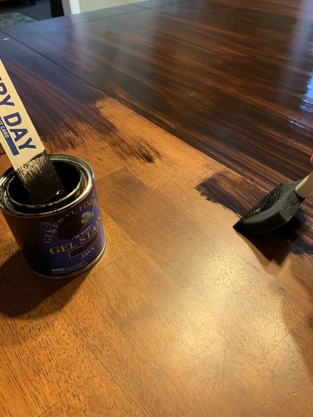 Applying first coat of gel stain