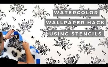 Watercolor Wallpaper Hack Using Floral Stencils