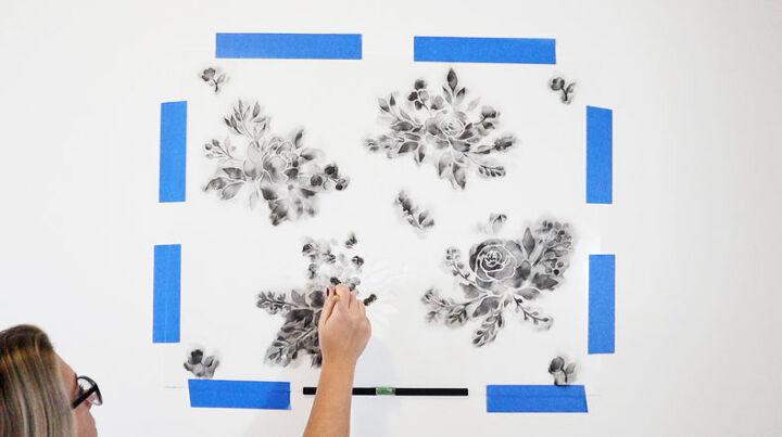 watercolor wallpaper hack using floral stencils