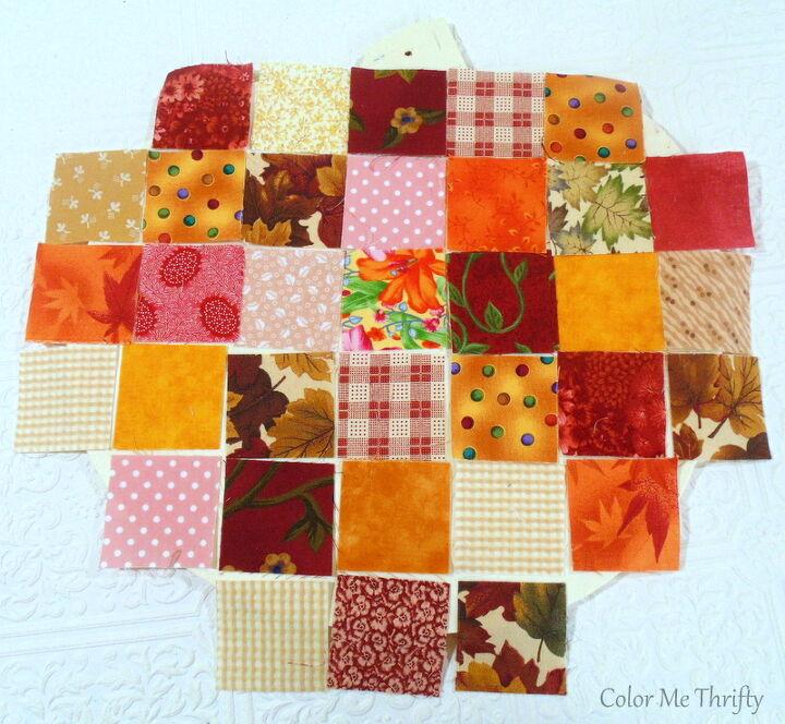 pumpkin door decor with quilt squares
