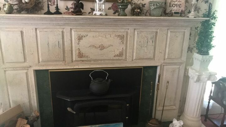 q how do i remove two layers of crackle paint from my fireplace mantel