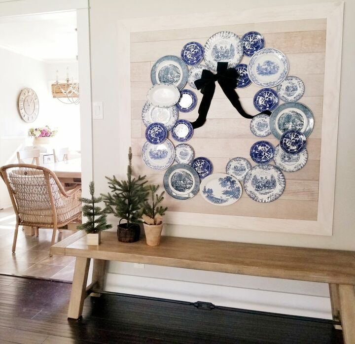 easy blue and white plate wreath