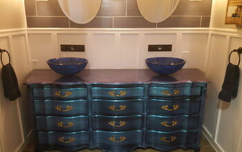 French Provencial Dresser Repurposed to Double Vanity