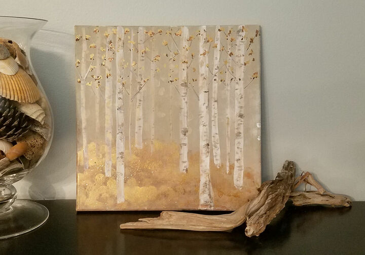 fall inspired birch trees canvas art