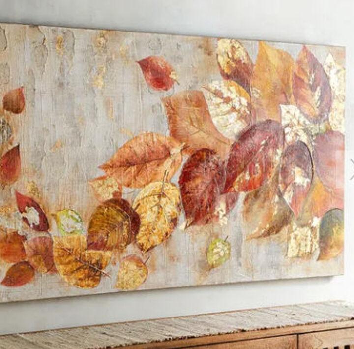 fall inspired tumbling leaves canvas art, Inspiration Art