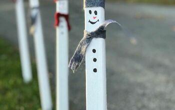 Wood Stake Snowmen