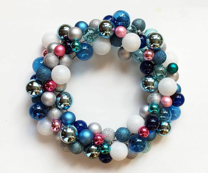 how to make a diy christmas wreath with ball ornaments
