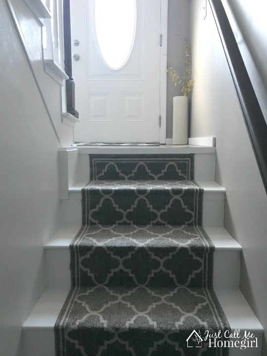 stair makeover with paint and a runner