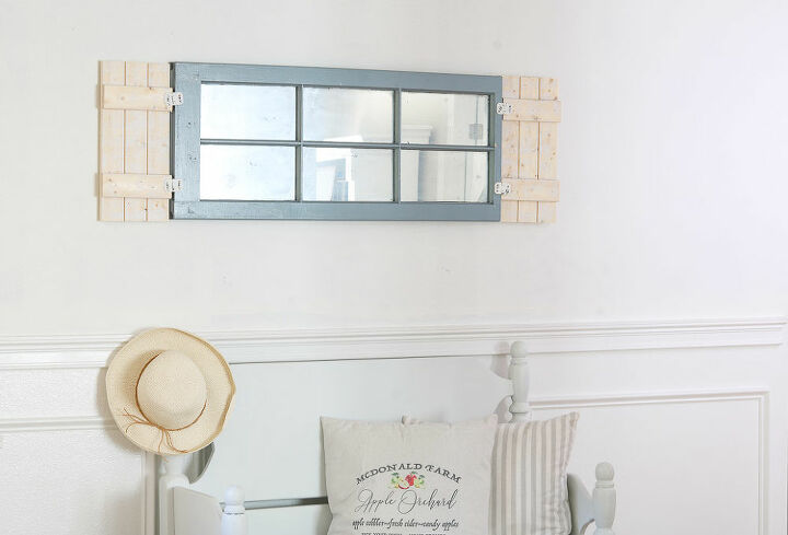 easy diy white washed shutters to add to a window