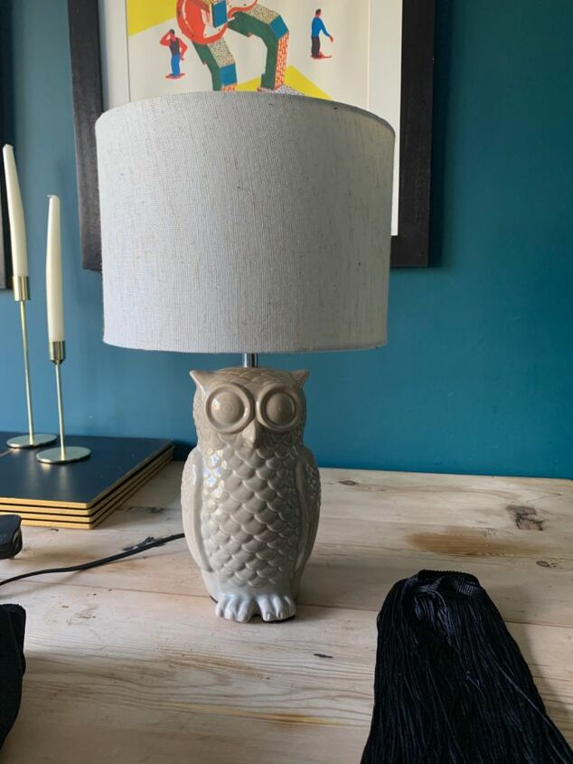 up cycled owl lamp