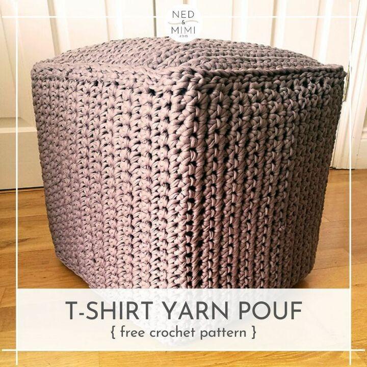crochet t shirt yarn pouf using ikea dr na boxes