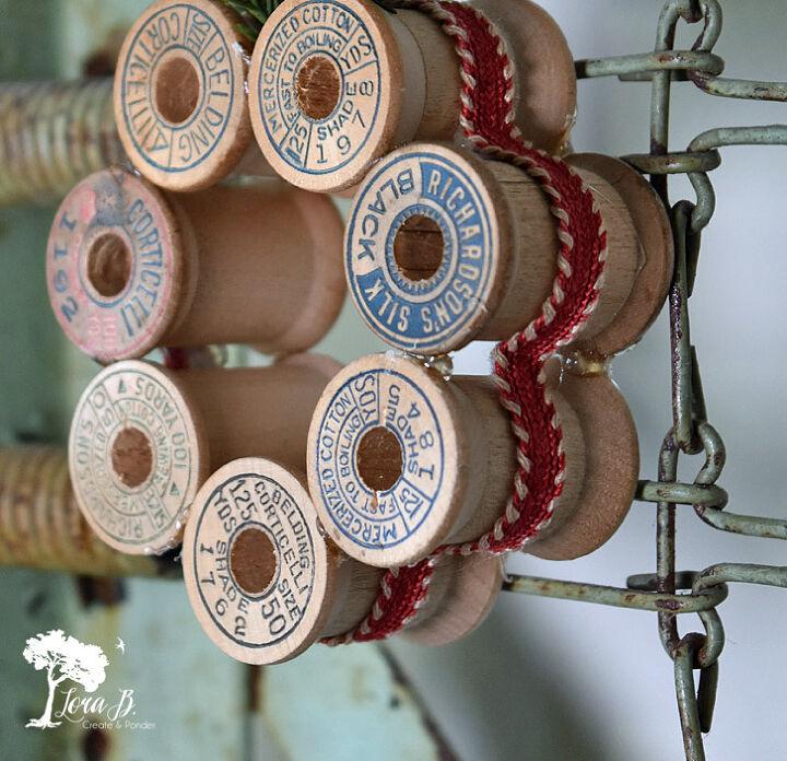 vintage thread spool mini wreath