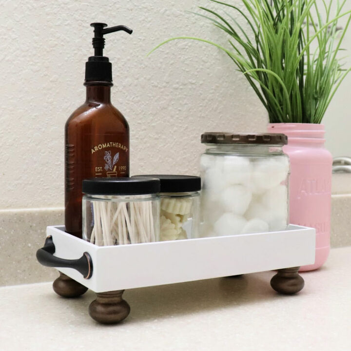 organize a bathroom with a diy tray
