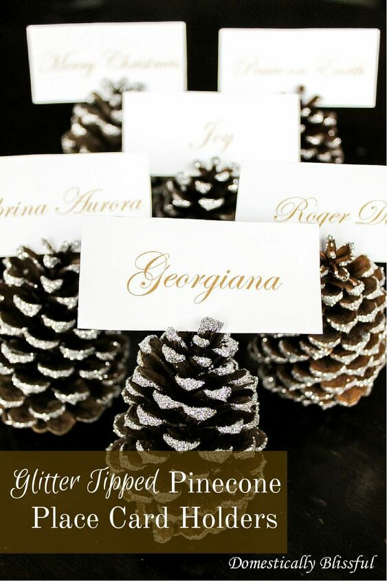 s 6 ways to use pine cones to decorate for the holidays, Glitter tipped pine cone place card holders
