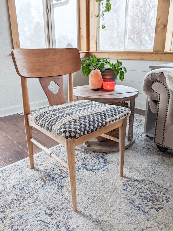 re cover a chair with a woven rug