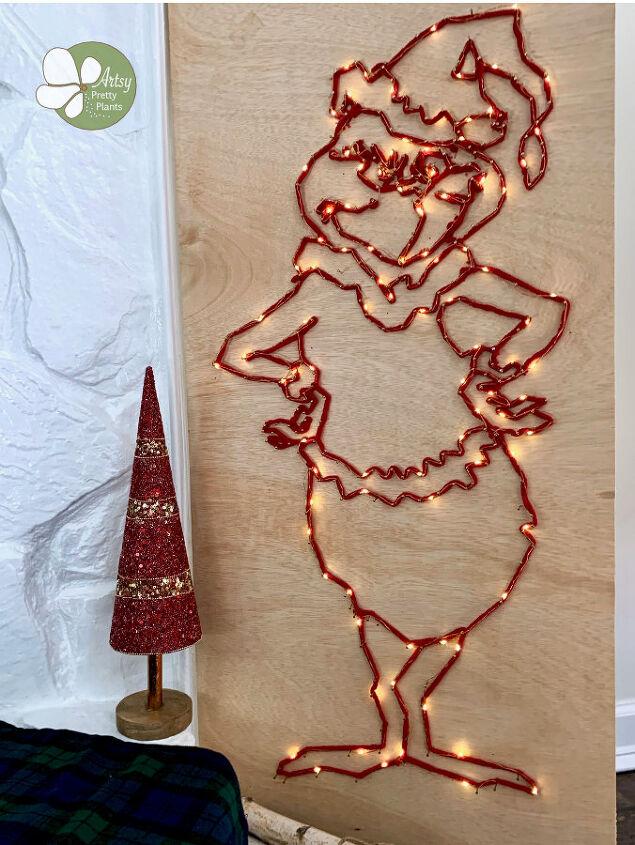 diy grinch string art with lights